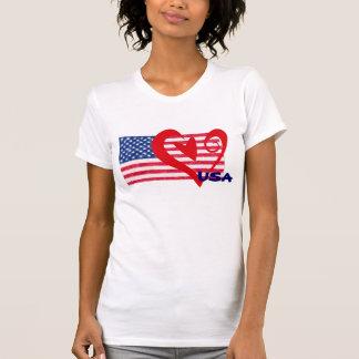Camisa do coração da bandeira dos EUA Camisetas