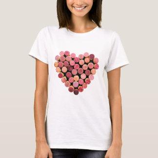 Camisa do coração da cortiça do vinho
