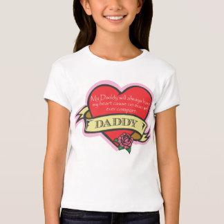 Camisa do coração do tatuagem da filha e do pai t-shirt