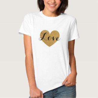 Camisa do coração t do amor do brilho do ouro do camisetas