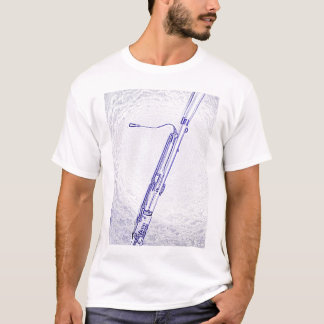 Camisa do desenho da tinta azul do fagote
