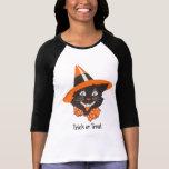 Camisa do Dia das Bruxas do gato preto do vintage Tshirts