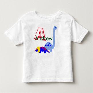 Camisa do dinossauro do monograma e do nome