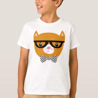 Camisa do gato do hipster com vidros e laço