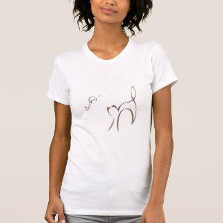 Camisa do gato T de Abstact SuNi no bege T-shirts
