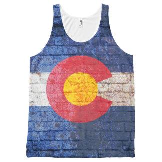 Camisa do grunge da parede de tijolo da bandeira regata com estampa completa