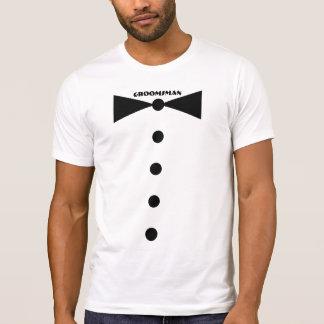 Camisa do homem do noivo - laço médio tshirt