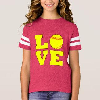 Camisa do jérsei do amor de Fastpitch das meninas