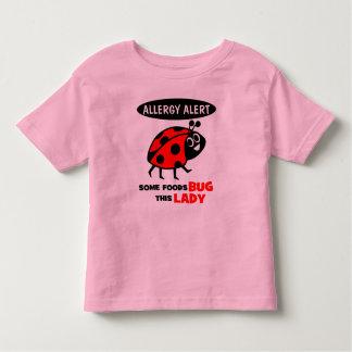 Camisa do joaninha do alerta da alergia de comida