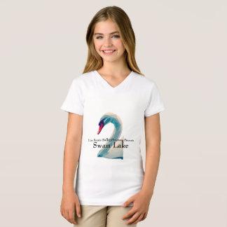 Camisa do lago swan do V-Pescoço das meninas