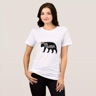 Camisa do Mama Carregamento Flor Coroa T - urso