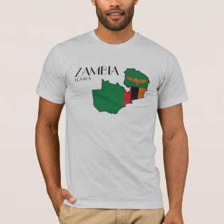 Camisa do mapa da bandeira da Zâmbia