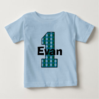 Camisa do menino do aniversário de Argyle primeira