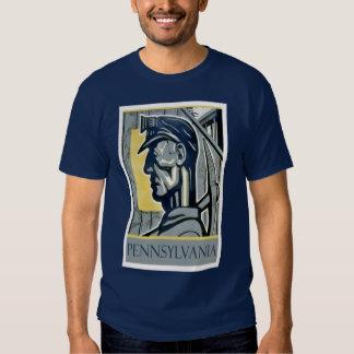 Camisa do mineiro T de WPA Pensilvânia do vintage Camisetas