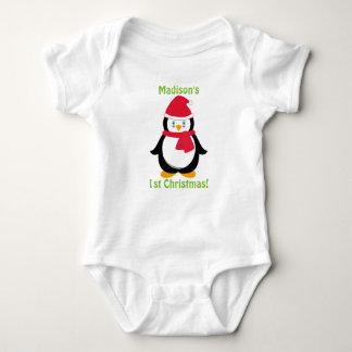 Camisa do Natal do bebê primeira, pinguim