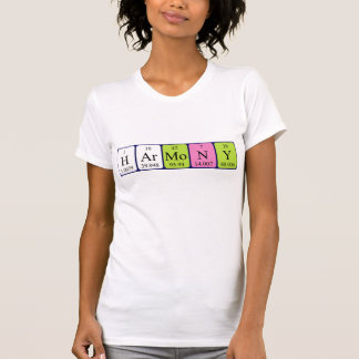 Camisa do nome da mesa periódica da harmonia