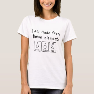 Camisa do nome da mesa periódica de Dora