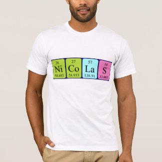 Camisa do nome da mesa periódica de Nicolas