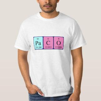Camisa do nome da mesa periódica de Paco