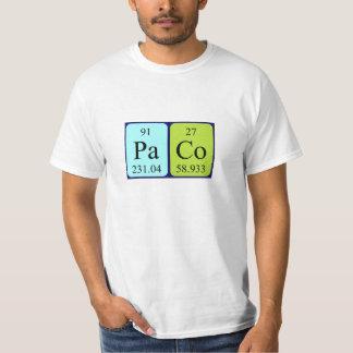 Camisa do nome da mesa periódica de Paco Tshirts