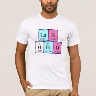 Camisa do nome da mesa periódica do herói do