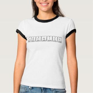 Camisa do nome da mesa periódica do pintinho do