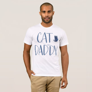 Camisa do pai do gato branco e azul