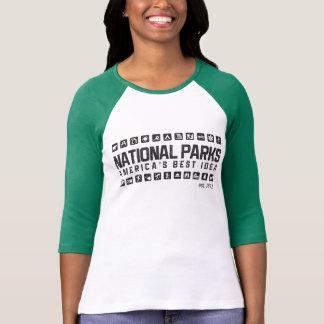 Camisa do raglan das mulheres dos parques