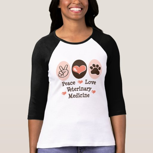 Camisa do Raglan T da medicina veterinária do amor T-shirts