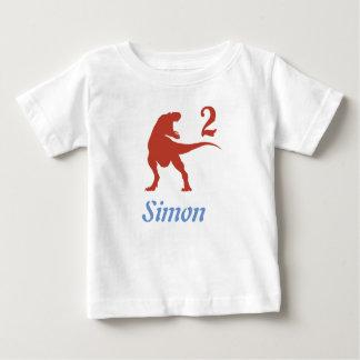 Camisa do segundo aniversário do dinossauro dos