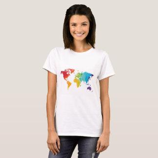 Camisa do viagem do mapa do mundo na aguarela
