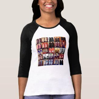 Camisa dos calçados das senhoras camiseta
