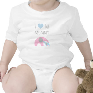 Camisa dos elefantes da mãe e do filho - amor de I Macacãozinho Para Bebê
