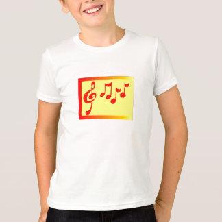 camisa dos miúdos das notas musicais