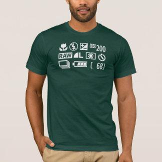 Camisa dos símbolos T da exposição da câmera