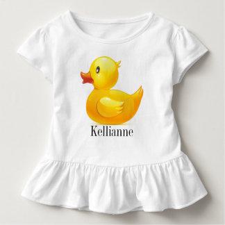 Camisa Ducky amarela do pequeno com plissados
