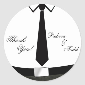 Camisa e obrigado do laço você adesivos em formato redondos