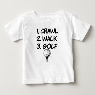 Camisa engraçada do bebé do golfe da caminhada do