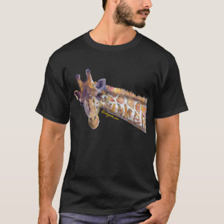 Camisa escura do verão T da aguarela do girafa