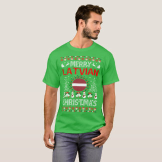 Camisa feia da camisola do Natal letão alegre do