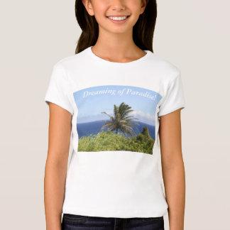 Camisa-fotografia da palmeira, vista para o mar tshirts