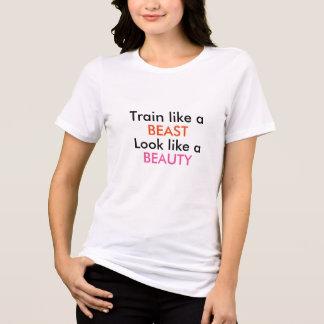 Camisa ginástica de T para a beleza das meninas e