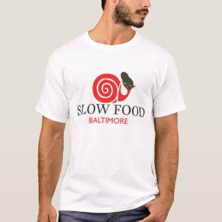 Camisa lenta do algodão T da comida