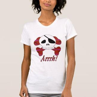 Camisa listrada do crânio do pirata de Arrrh do Camiseta