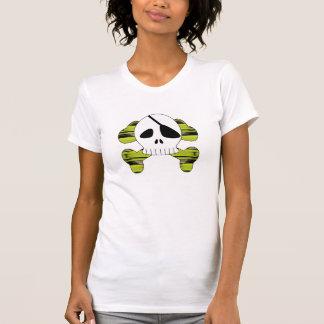 Camisa listrada do crânio do pirata do diamante 04 camiseta