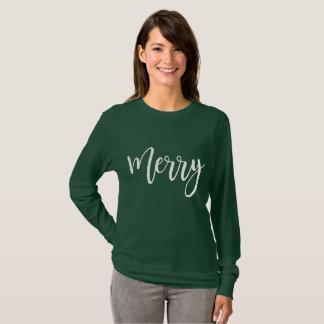 Camisa longa alegre da luva - verde do presente do