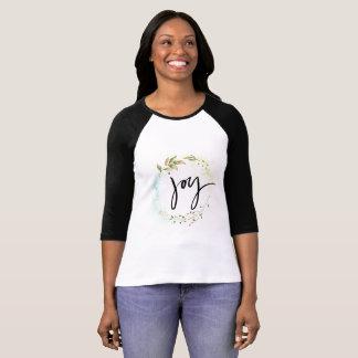 Camisa longa da luva da caligrafia da alegria