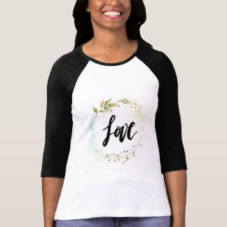 Camisa longa da luva da caligrafia do amor