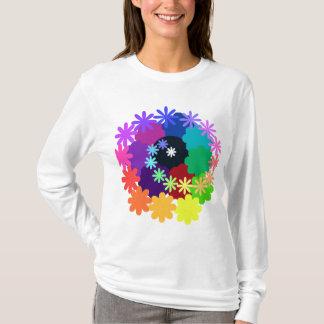 Camisa longa da luva das flores psicadélicos