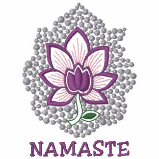 Camisa longa da luva das mulheres bordadas Namaste